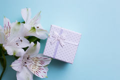 White gift box with alstroemeria flowers on light blue backgroun Royalty Free Stock Photography