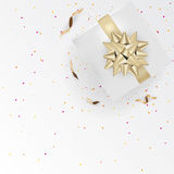 White Gift Box And Gold Ribbons With Confetti On Light Silk Text Royalty Free Stock Photography