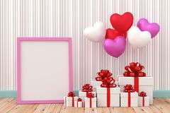 White gift box with balloon heart sharp. A photo of White gift box with balloon heart sharp on wood floor, 3D renderring with blender freeware Stock Image