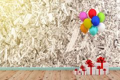 White gift box and balloon. A photo of white gift box and colorful balloon with grung texture background, 3D rendering with blender freeware Stock Photography