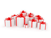 White gift box with big red holiday bow Stock Images
