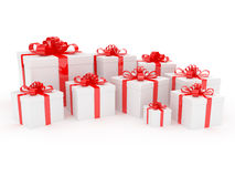 White gift box with big red holiday bow Royalty Free Stock Photo