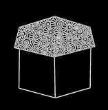 white gift box on the black background Stock Photography