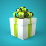 White gift box on blue background Stock Photos
