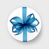 White Gift Box with Blue Bow on Background. Vector White Round Gift Box with Transparent Light Blue Bow and Ribbon Top View Close up  on Background Royalty Free Stock Images
