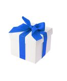 White gift box with blue bow ribbon Royalty Free Stock Images