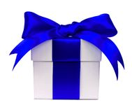 White gift box with blue bow and ribbon on white Royalty Free Stock Images