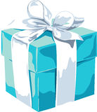 White gift box with a blue bow on white background Royalty Free Stock Photos