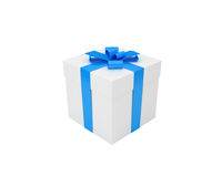 White gift box with blue ribbon Royalty Free Stock Image