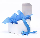 White Gift Box with Blue ribbon Royalty Free Stock Images