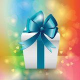 White gift box with blue ribbon bow Royalty Free Stock Image