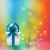 White gift box with blue ribbon bow Royalty Free Stock Images