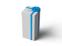 White gift box with blue ribbon bow. On white Stock Photos