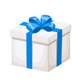 White gift box with blue ribbon and bow. Vector illustration. Royalty Free Stock Photography