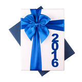 White gift Box with blue ribbon 2016 on white background.  royalty free illustration