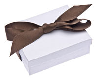 White Gift Box with Brown Ribbon Royalty Free Stock Photography