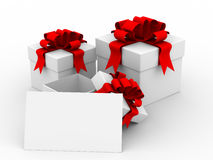 White gift box with a card. Stock Photo