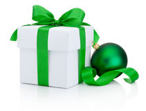 White gift box and Christmas green bauble Isolated on white Stock Images