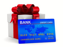 White gift box with credit card. 3D image Stock Image