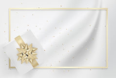 White gift box and gold bow ribbons with confetti on light silk. Texture background. Vector illustration Royalty Free Stock Photo