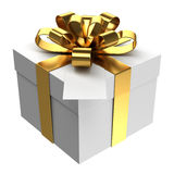 White gift box with golden ribbon and paper card Stock Image