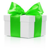 White gift box with green bow isolated on the white background Royalty Free Stock Images