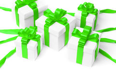 White gift box with green ribbon bow Stock Photos
