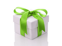 White gift box with green ribbon bow Stock Photography