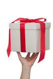 White gift box in hand Royalty Free Stock Photo