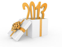 White Gift Box with an inscription 2013 inside Royalty Free Stock Photography