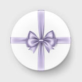 White Gift Box with Lilac Bow and Ribbon on Background Stock Photo