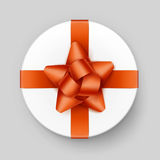 White Gift Box with Orange Bow and Ribbon Top View Royalty Free Stock Photos