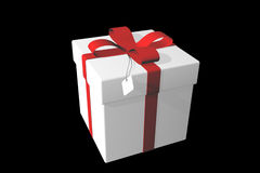 White gift box over black. Royalty Free Stock Images