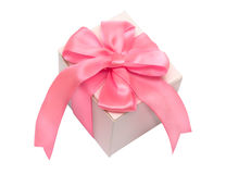 White Gift Box with Ping Satin Ribbon Bow Stock Photos
