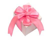 White Gift Box with Ping Satin Ribbon Bow Stock Photos
