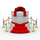 White gift box on podium Stock Image