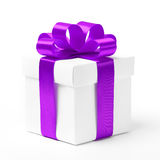 White gift box with purple ribbon bow Royalty Free Stock Photography