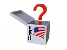 White Gift Box with Question Mark and Flag of USA Stock Photography