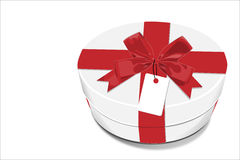 White gift Box with red bow Royalty Free Stock Photos