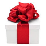White gift box with red bow Royalty Free Stock Photography