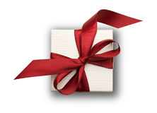 White gift box with red bow Stock Photos