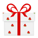 White gift box with red bow and ribbon poinsettia pattern wrapped isolated on white Royalty Free Stock Photo
