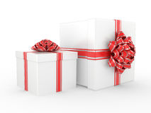 White Gift Box with Red glossy Ribbon Bow Royalty Free Stock Images