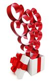 White gift box with red hearts. Isolated on white Stock Images