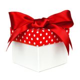 White gift box with red polka dot lid isolated Royalty Free Stock Photo