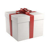 White gift box with red ribbon. Isolated on white background Stock Photos