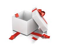 White gift box with red ribbon. Royalty Free Stock Photo