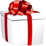 White gift box with red ribbon Stock Images