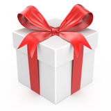 White gift box with red ribbon bow Stock Images