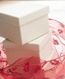 White gift box with red ribbon bow Stock Image